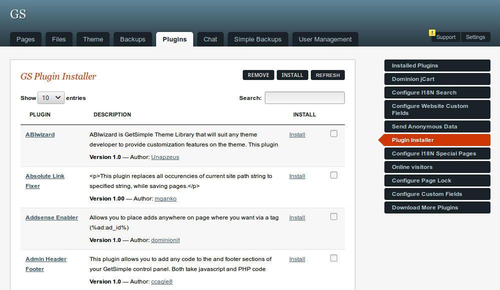 informatux  getsimple cms plugin gs plugin installer