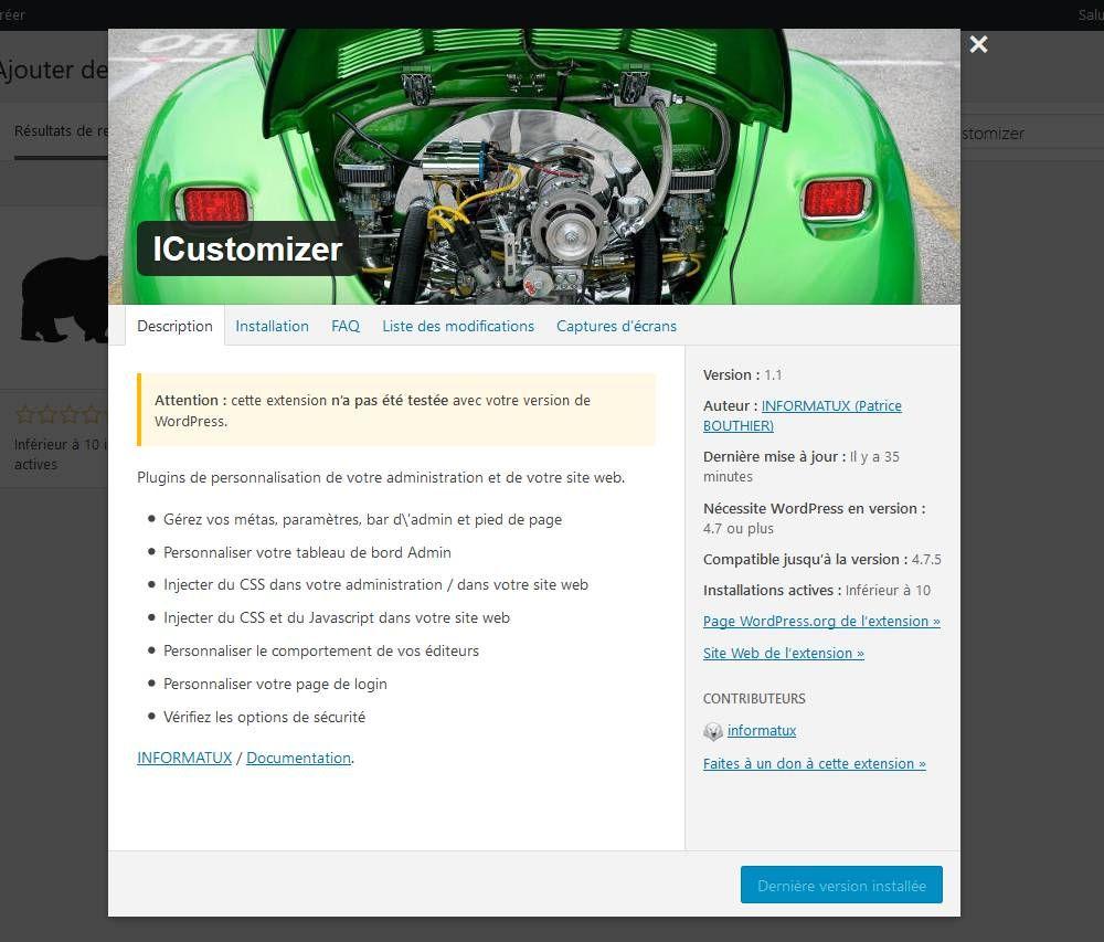 icustomizer administration recherche details