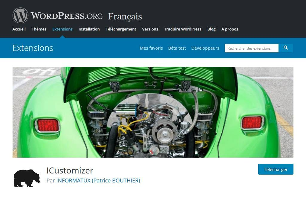 icustomizer wordpress url officielle